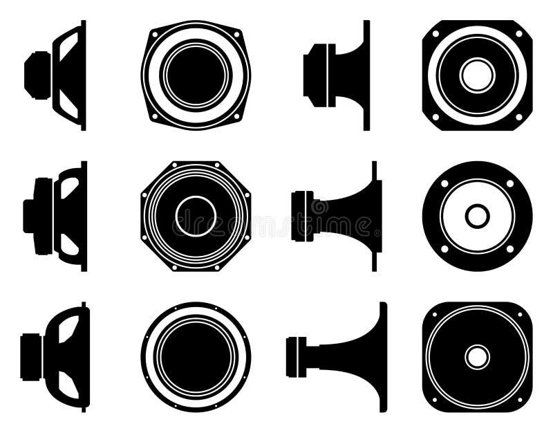 Οδηγός ομιλητών Επίπεδα εικονίδια Διάνυσμα σκιαγραφιών διανυσματική απεικόνιση