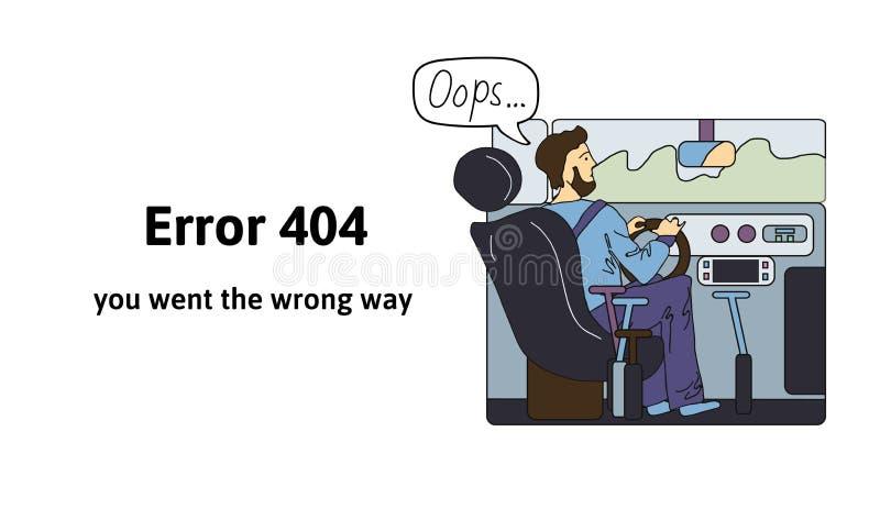 Οδηγός πίσω από τη sreering ρόδα Το λάθος 404, εσείς πήγε ο λανθασμένος τρόπος Ουπς σελίδα 404 λάθους, διανυσματικό πρότυπο για τ διανυσματική απεικόνιση