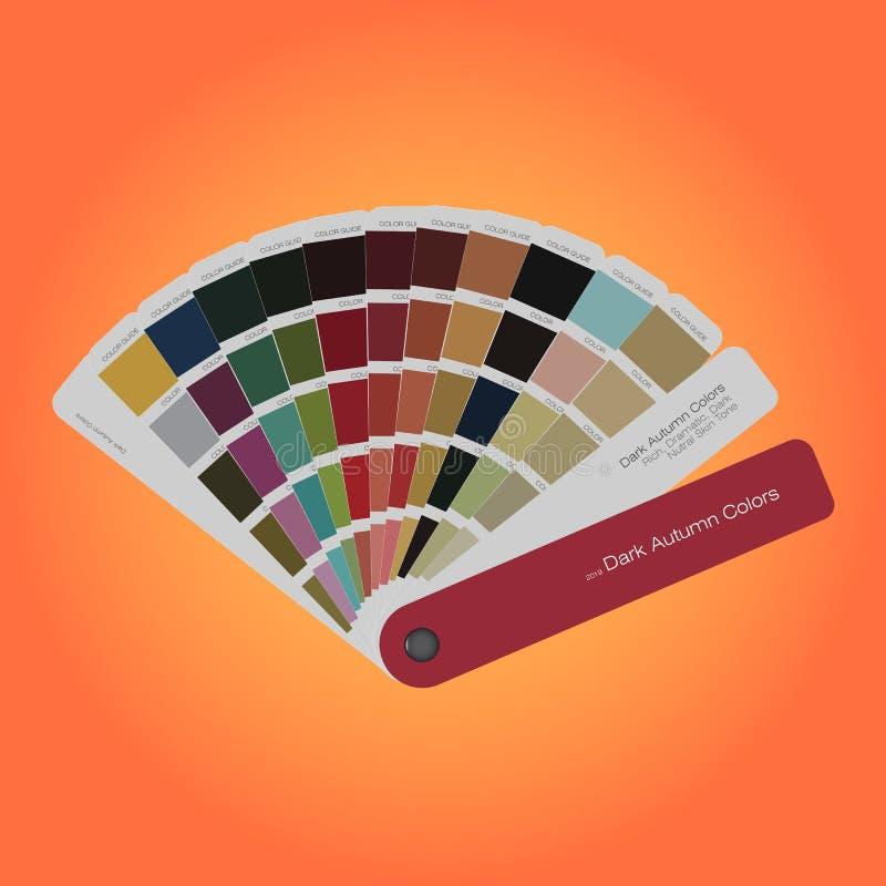 Οδηγός παλετών χρωμάτων φθινοπώρου για την τυπωμένη ύλη, τουριστικός οδηγός για το σχεδιαστή διανυσματική απεικόνιση
