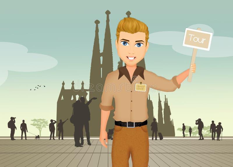 Οδηγός τουριστών στη Βαρκελώνη διανυσματική απεικόνιση