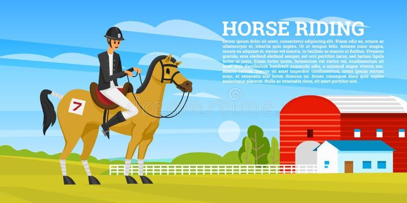 Οδηγώντας αφίσα ή έμβλημα πλατών αλόγου Εικονίδια αγώνα για Jockey δραστηριότητας τη λέσχη Εξοπλισμοί για το ιππικό αθλητικό υπόβ απεικόνιση αποθεμάτων