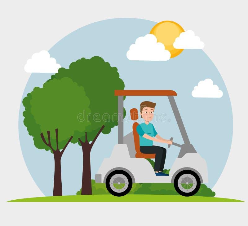 Οδηγώντας γκολφ κάρρων νεαρών άνδρων διανυσματική απεικόνιση