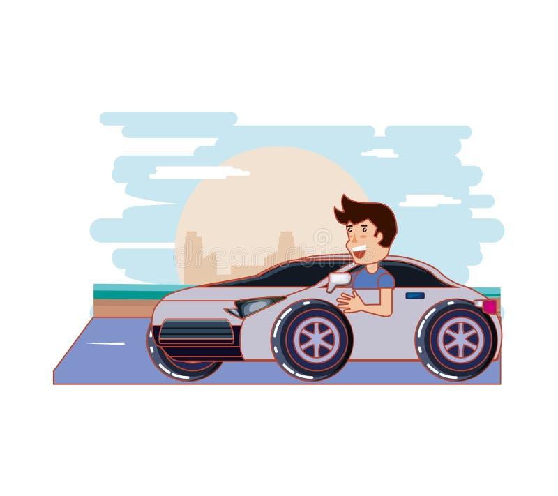 Οδηγώντας οδηγός αυτοκινήτων ατόμων ακίνδυνα απεικόνιση αποθεμάτων