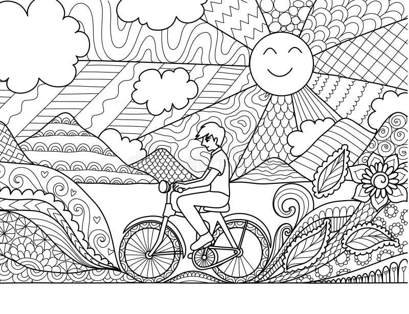 Οδηγώντας ποδήλατο νεαρών άνδρων ευτυχώς στην όμορφη φύση για την ενήλικη χρωματίζοντας σελίδα βιβλίων και άλλο στοιχείο σχεδίου  διανυσματική απεικόνιση