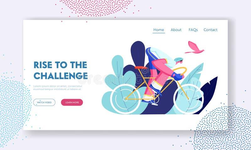 Οδηγώντας ποδήλατο ποδηλατών υπαίθρια στη θερινή ημέρα Ενεργός αθλητική ζωή ατόμων ποδηλάτων και υγιής τρόπος ζωής, αναβάτης ποδη απεικόνιση αποθεμάτων