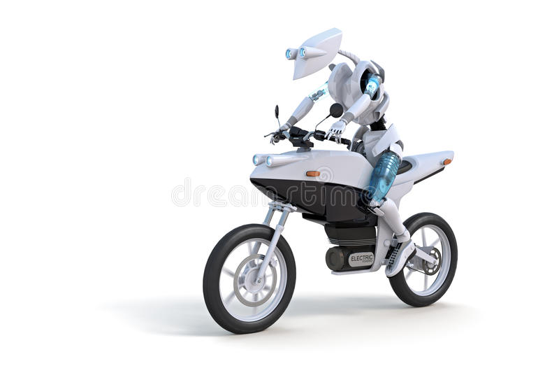 οδηγώντας ρομπότ μοτοσικλετών ελεύθερη απεικόνιση δικαιώματος