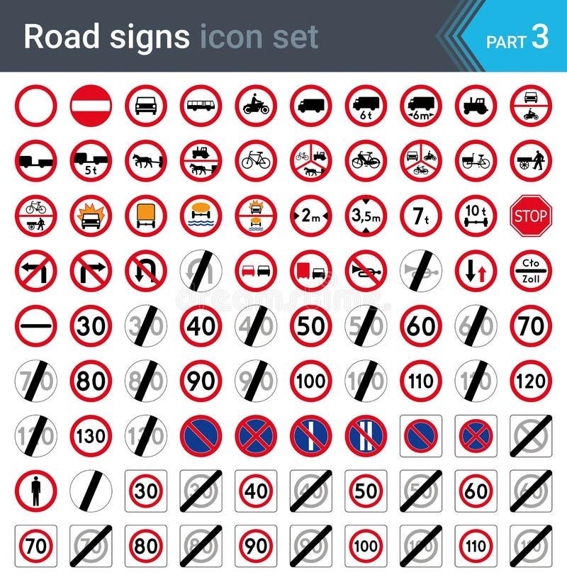 Οδικά σημάδια που απομονώνονται στο άσπρο υπόβαθρο Σημάδια απαγόρευσης και ορίου ταχύτητας ελεύθερη απεικόνιση δικαιώματος