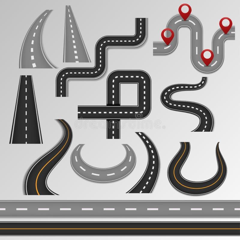 Οδικές διανυσματικές οδόστρωμα και εθνική οδός στο χάρτη με το σύνολο απεικόνισης πορειών διαδρομών άκρης του δρόμου ή σταυροδρομ διανυσματική απεικόνιση