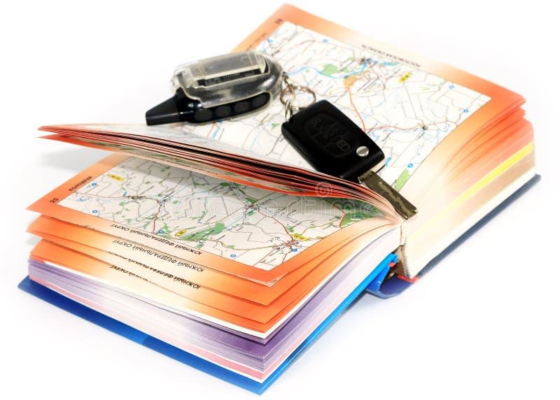 Οδικοί χάρτες και κλειδί στοκ εικόνες
