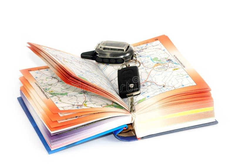 Οδικοί χάρτες και κλειδί στοκ φωτογραφία με δικαίωμα ελεύθερης χρήσης