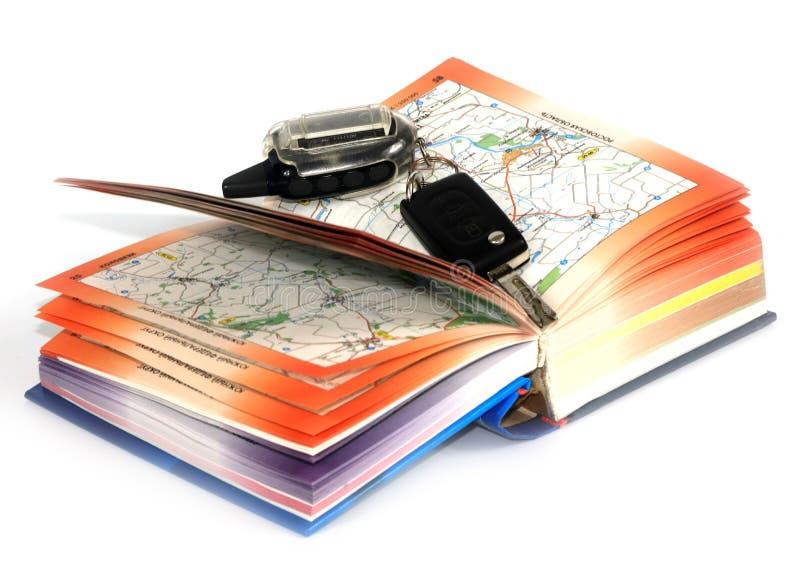 Οδικοί χάρτες και κλειδί στοκ εικόνα