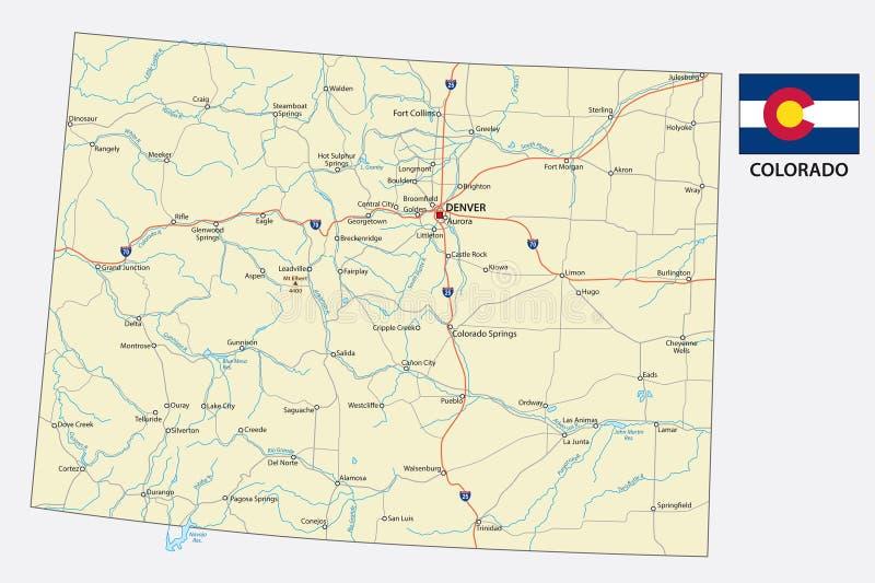 Οδικός διανυσματικός χάρτης του Κολοράντο με τη σημαία ελεύθερη απεικόνιση δικαιώματος