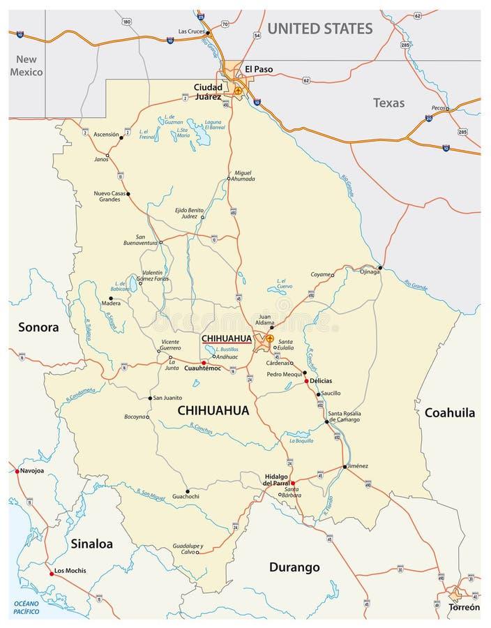 Οδικός χάρτης της μεξικάνικης κατάστασης Chihuahua ελεύθερη απεικόνιση δικαιώματος