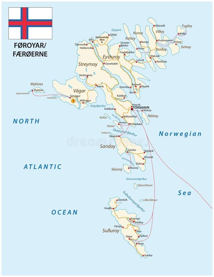 Οδικός χάρτης του αρχιπελάγους Βόρειου Ατλαντικού Νησιών Φερόες με τη σημαία, Δανία διανυσματική απεικόνιση