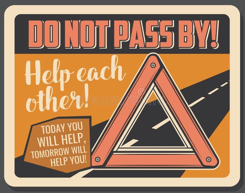 Οδικό σημάδι έκτακτης ανάγκης τριγώνων προειδοποίησης, διάνυσμα ελεύθερη απεικόνιση δικαιώματος