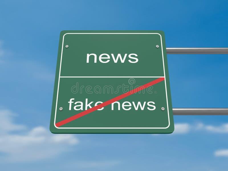 Οδικό σημάδι έννοιας μέσων: Ειδήσεις αντί των πλαστών ειδήσεων απεικόνιση αποθεμάτων