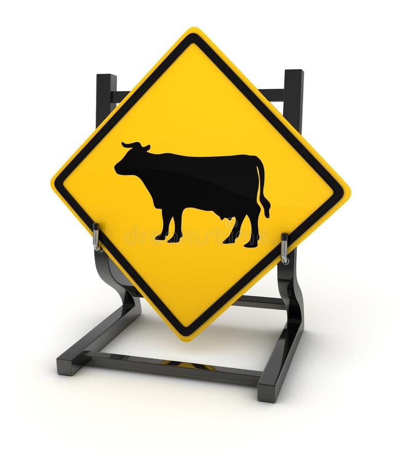Οδικό σημάδι - αγελάδα διανυσματική απεικόνιση