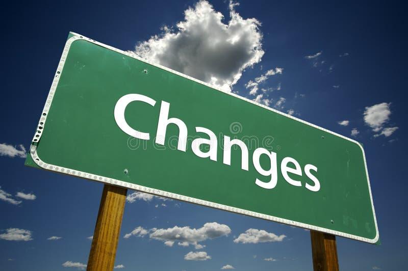 οδικό σημάδι αλλαγών στοκ φωτογραφία
