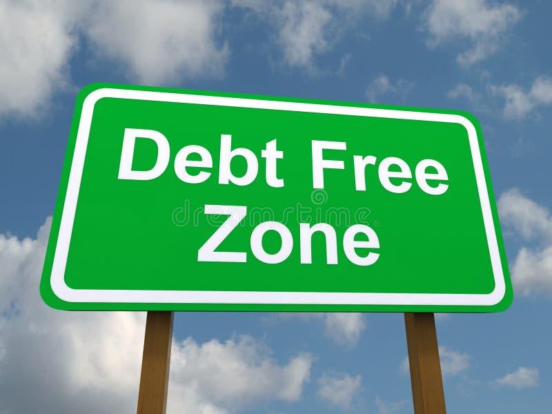 Οδικό σημάδι ελεύθερων ζωνών χρέους στοκ εικόνα