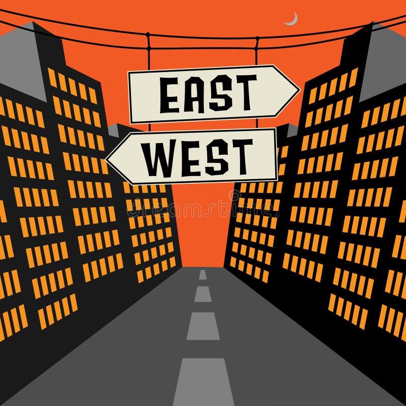 Οδικό σημάδι με τα αντίθετα βέλη και κείμενο Ανατολής-Δύσης διανυσματική απεικόνιση