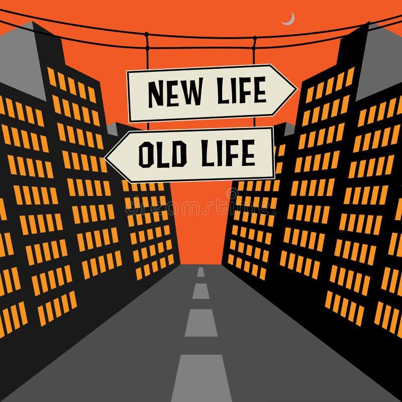 Οδικό σημάδι με τα αντίθετα βέλη και τη νέα ζωή κειμένων - παλαιά ζωή διανυσματική απεικόνιση