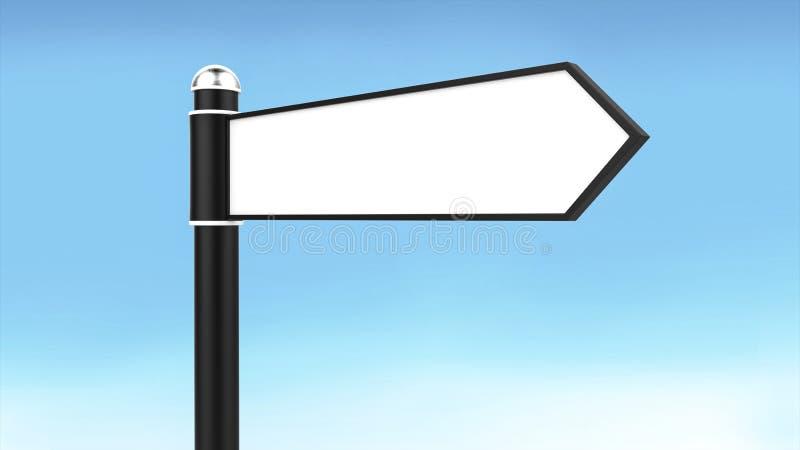 Οδικό σημάδι με το κενό βέλος τέσσερα για το υπόβαθρο κειμένων και μπλε ουρανού ελεύθερη απεικόνιση δικαιώματος