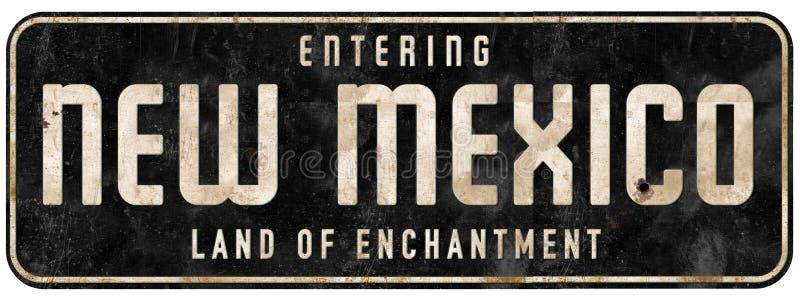 Οδικό σημάδι Νέων Μεξικό που εισάγει το έδαφος Enchantment στοκ εικόνα