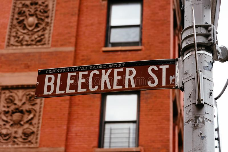 Οδικό σημάδι οδών Bleecker στο Greenwich Village στη Νέα Υόρκη στοκ φωτογραφίες με δικαίωμα ελεύθερης χρήσης