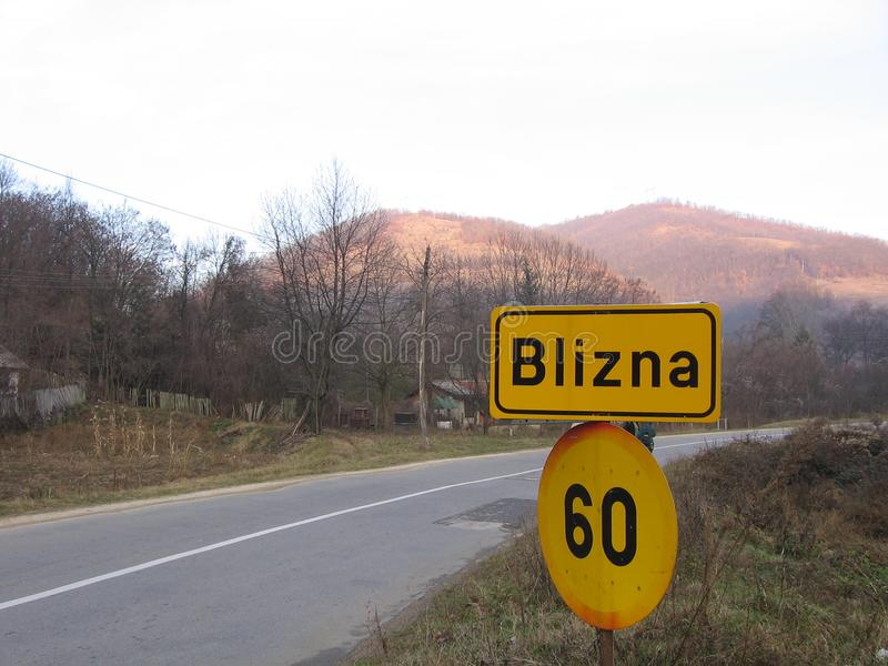 Οδικό σημάδι Blizna στοκ εικόνες