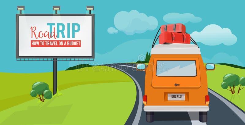 Οδικό ταξίδι Έννοια περιπέτειας με το οδηγώντας αυτοκίνητο ταξιδιού διακοπών στα διανυσματικά αστικά κινούμενα σχέδια τοπίων εθνι διανυσματική απεικόνιση
