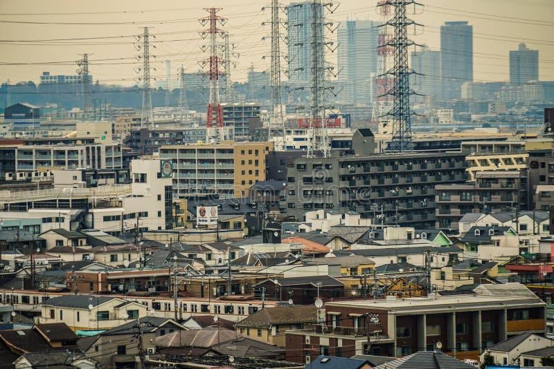 Οδοί της πόλης Kawasaki, η οποία είναι ορατή από Meiyuan Okurayama στοκ εικόνα