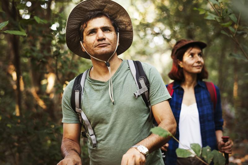 Οδοιπορία ζεύγους μαζί σε ένα δάσος στοκ φωτογραφίες με δικαίωμα ελεύθερης χρήσης