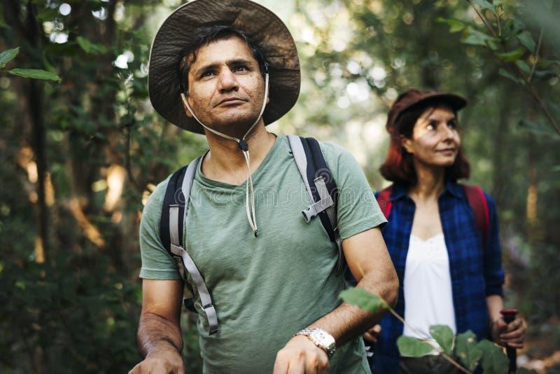 Οδοιπορία ζεύγους μαζί στο δάσος στοκ φωτογραφίες με δικαίωμα ελεύθερης χρήσης