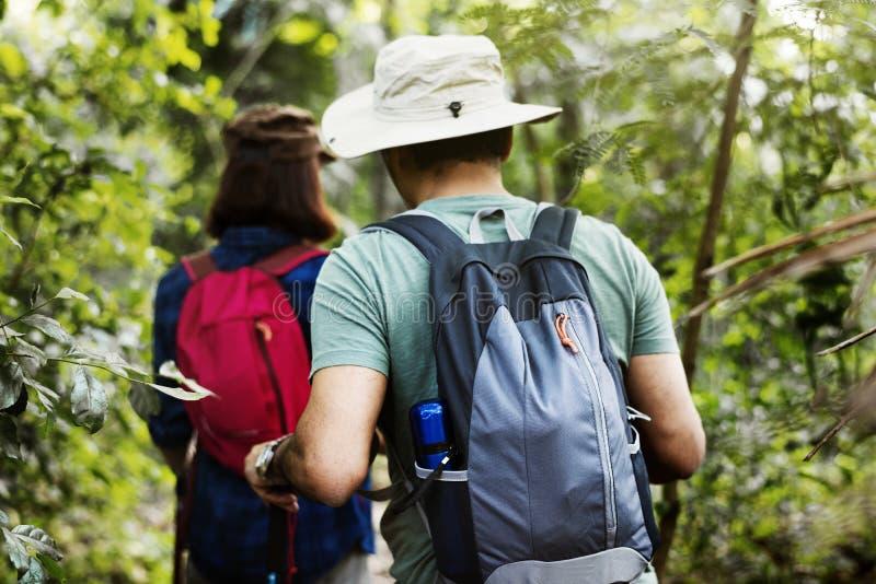 Οδοιπορία ζεύγους μαζί στο δάσος στοκ εικόνες με δικαίωμα ελεύθερης χρήσης