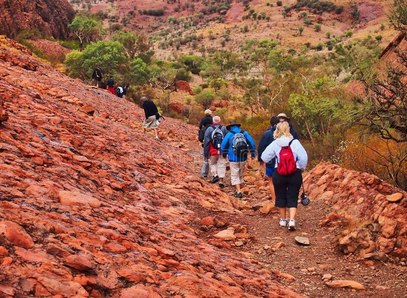 Οδοιπορία ημέρας σε Kata Tjuta, Uluru, κόκκινο κέντρο, κεντρική Αυστραλία στοκ εικόνα