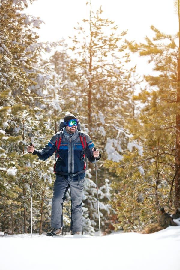 Οδοιπόρος με την οδοιπορία σακιδίων πλάτης στη δασική χειμερινή πεζοπορία στοκ φωτογραφίες με δικαίωμα ελεύθερης χρήσης