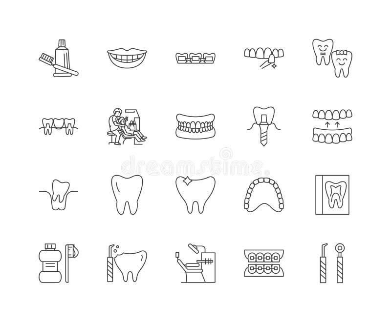 Οδοντικά εικονίδια γραμμών προσοχής, σημάδια, διανυσματικό σύνολο, έννοια απεικόνισης περιλήψεων ελεύθερη απεικόνιση δικαιώματος