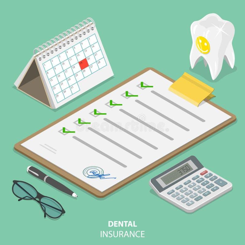 Οδοντική ασφαλιστική επίπεδη isometric διανυσματική έννοια απεικόνιση αποθεμάτων