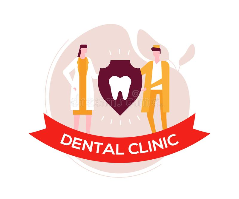 Οδοντική κλινική - ζωηρόχρωμη επίπεδη απεικόνιση ύφους σχεδίου απεικόνιση αποθεμάτων