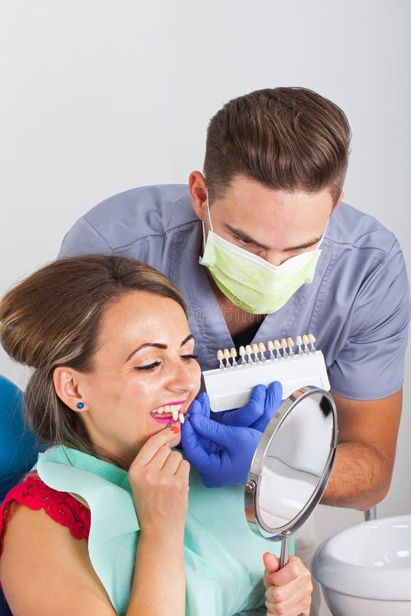 Οδοντικός προσδιορισμός σκιάς στοκ φωτογραφία