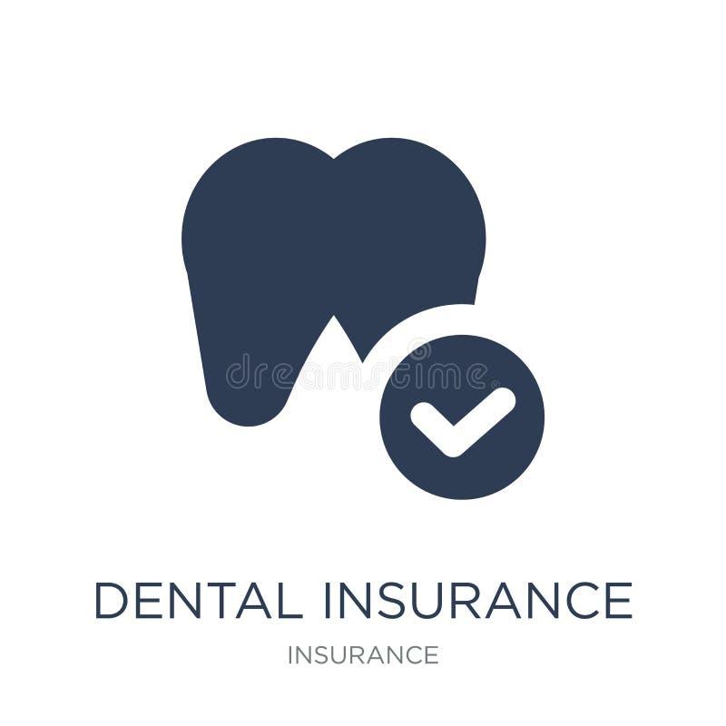 οδοντικό ασφαλιστικό εικονίδιο Καθιερώνον τη μόδα επίπεδο διανυσματικό οδοντικό ασφαλιστικό εικονίδιο διανυσματική απεικόνιση