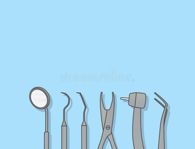 Οδοντικό διάνυσμα απεικόνισης εργαλείων στο μπλε υπόβαθρο Οδοντικός συμπυκνωμένος απεικόνιση αποθεμάτων
