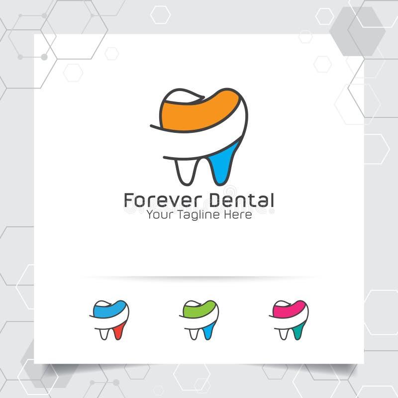 Οδοντικό διανυσματικό σχέδιο λογότυπων με την έννοια του επίπεδου χρώματος γραμμών Οδοντικό εικονίδιο προσοχής και οδοντιάτρων γι ελεύθερη απεικόνιση δικαιώματος