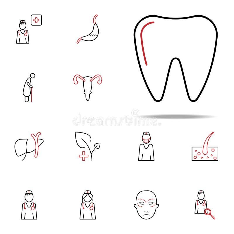 Οδοντικό εικονίδιο χρωματισμένων γραμμών προσοχής Ιατρικό καθολικό εικονιδίων που τίθεται για τον Ιστό και κινητό απεικόνιση αποθεμάτων