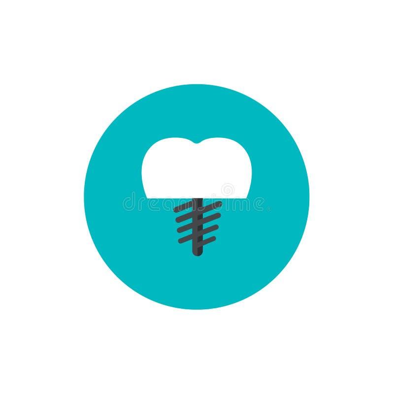 Οδοντικό επίπεδο εικονίδιο πυρήνων στο πράσινο υπόβαθρο κύκλων διανυσματική απεικόνιση