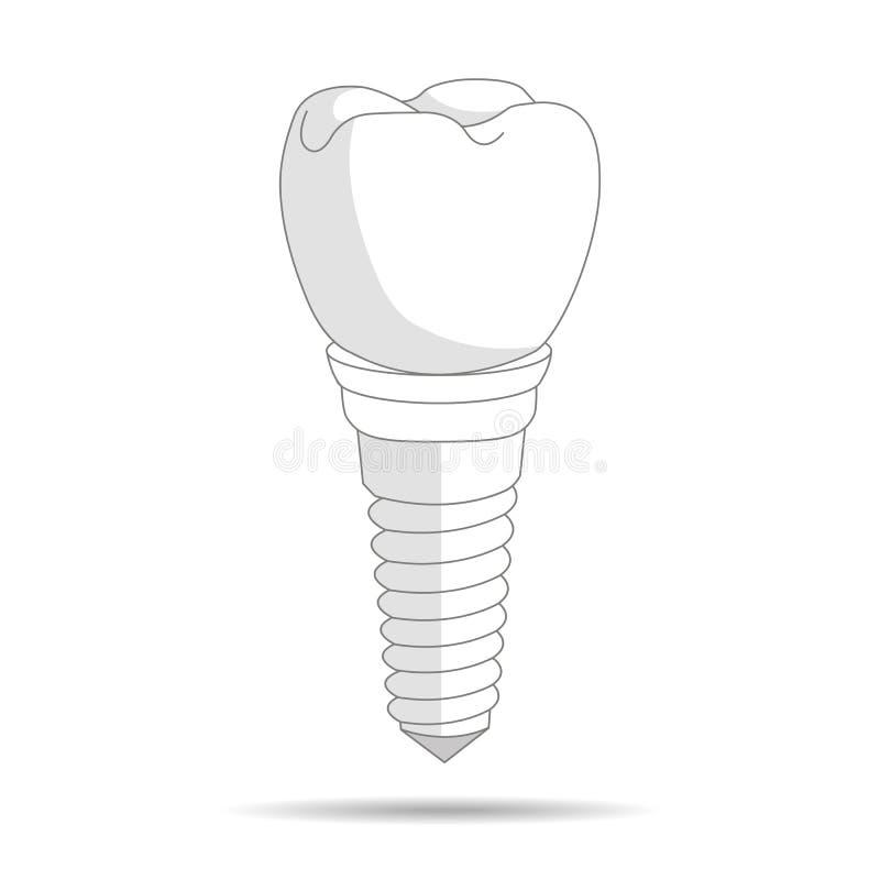 Οδοντικό λογότυπο μοσχευμάτων, εικονίδιο Οδοντιατρική και προσοχή εμφύτευσης στα δόντια απεικόνιση ελεύθερη απεικόνιση δικαιώματος