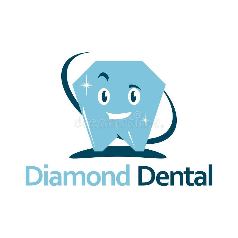 Οδοντικό πρότυπο λογότυπων κλινικών προσοχής διαμαντιών χαμόγελου διανυσματική απεικόνιση