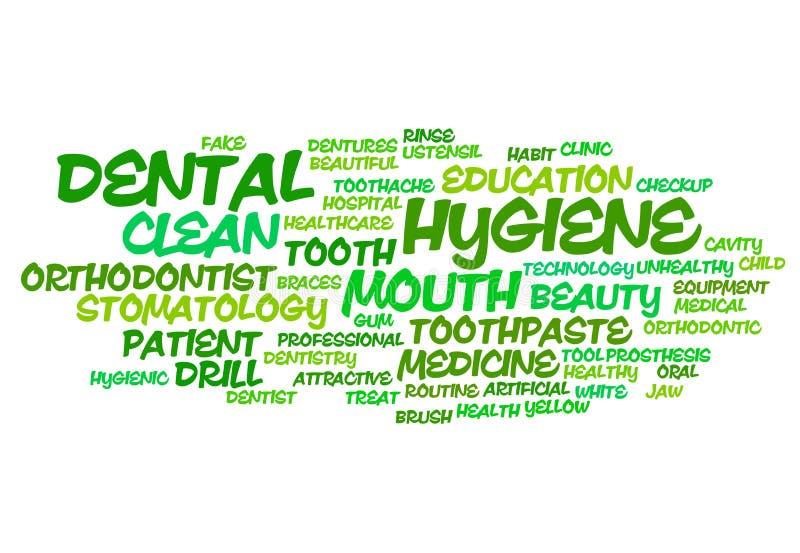 Οδοντικό σύννεφο λέξης υγιεινής διανυσματική απεικόνιση
