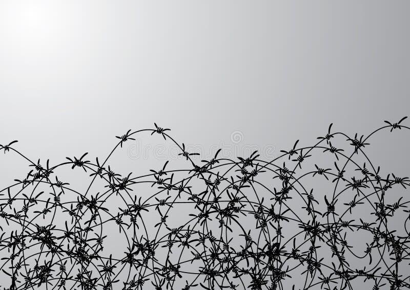 Οδοντωτός - περίφραξη καλωδίων Φράκτης φιαγμένος από καλώδιο με τις ακίδες Γραπτή απεικόνιση στο στρατόπεδο κονσολών ολοκαυτώματο διανυσματική απεικόνιση