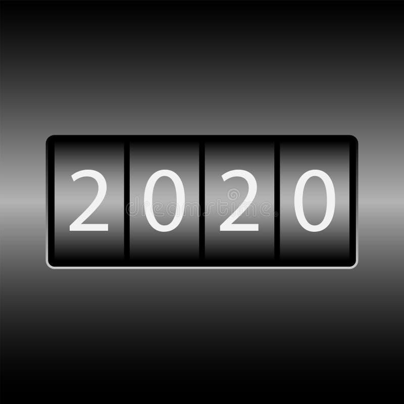 Οδόμετρο με τους αριθμούς 2020 Νέο το 2020 στο οδόμετρο Άσπροι αριθμοί, μαύρο υπόβαθρο απεικόνιση αποθεμάτων